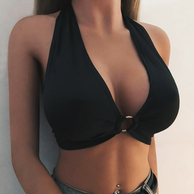 Summer Tank Top Crop Top Sexy Women Bandage Sexy Solid Color Bralette Bustier Crop Top Sheer Unpadded Bra Ropa Mujer Tanktop