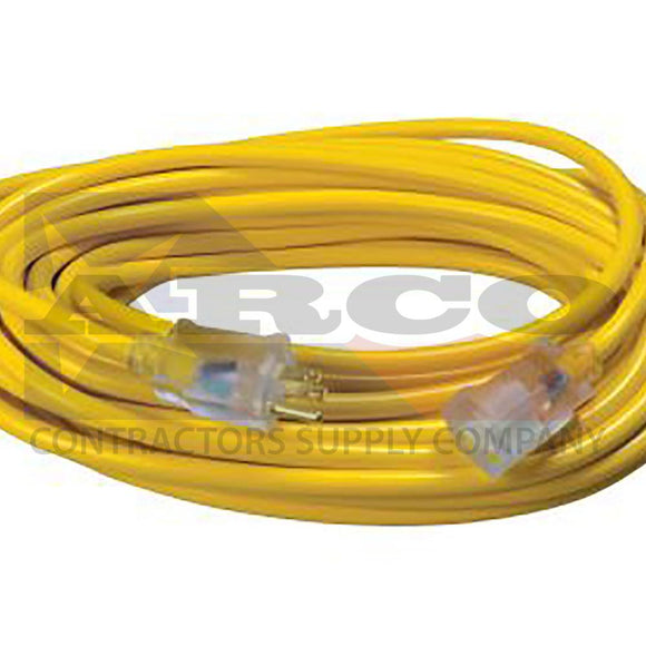 12/3 SJTW High Visibility Extension Cord with Lighted Ends, 50-Foot.