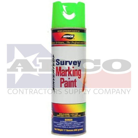 Survey Fluorescent Green Inverted Construction Marking Paint 17oz.