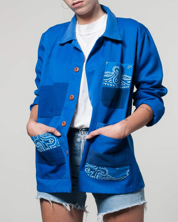 Overlord Upcycling Vintage | Blue Rework Bandana Jacket