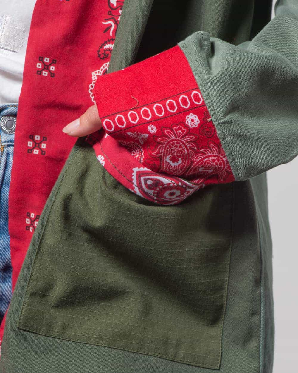 Noragi Vintage Military Patchwork Red Bandana