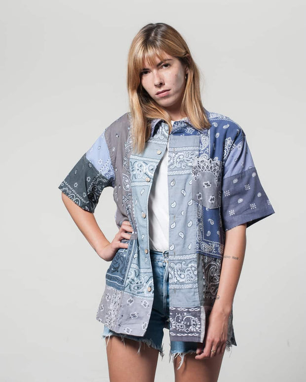 Overlord Upcycling Vintage | Grey Short Sleeves Shirt bandana Patchwork