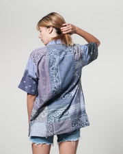 Grey Short Sleeves Shirt bandana Patchwork