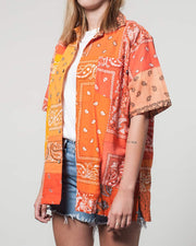 Overlord Upcycling Vintage | Orange Short Sleeves Shirt bandana Patchwork