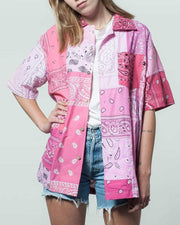 Pink Short Sleeves Shirt bandana Patchwork