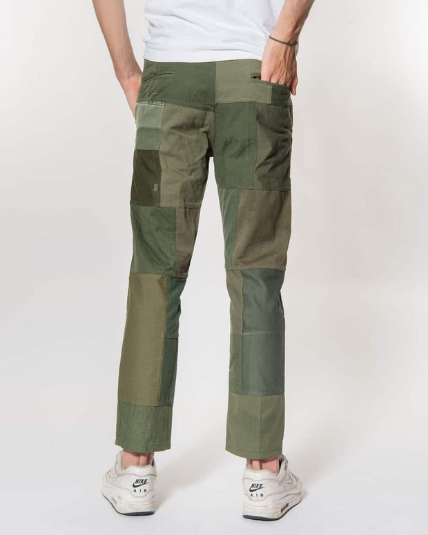 Green Patchwork Pants Chino