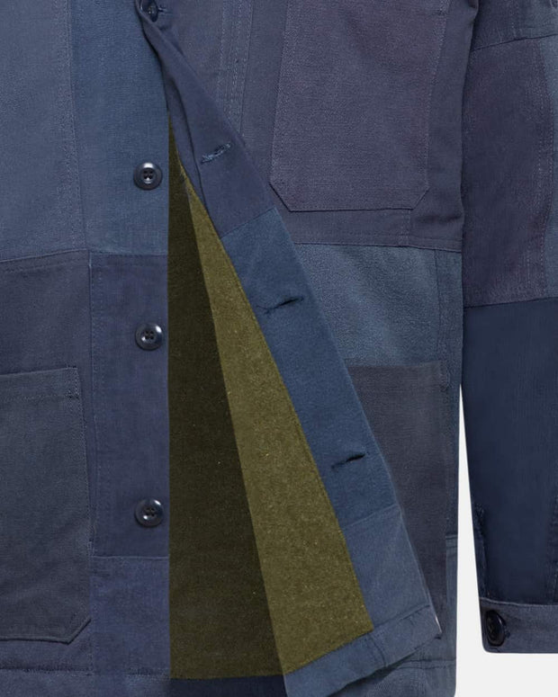 Navy Patchwork Jacket with wool interior