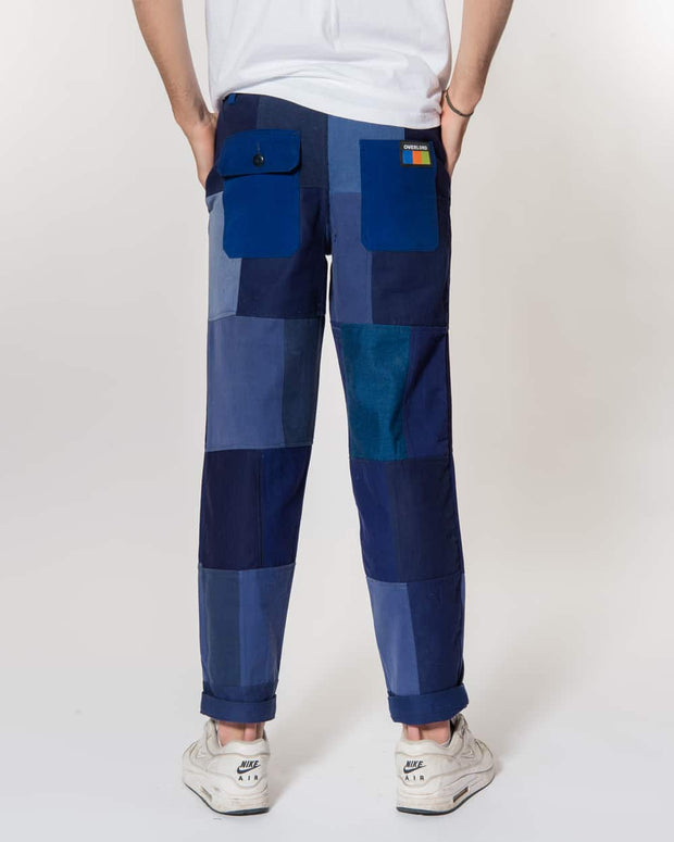 Navy Patchwork Trouser