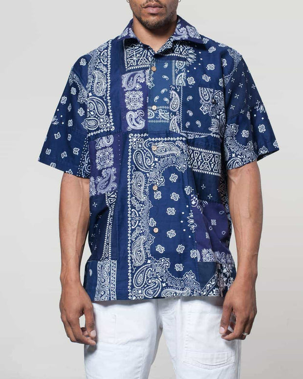 Overlord Upcycling Vintage | Blue Short Sleeves Shirt bandana Patchwork