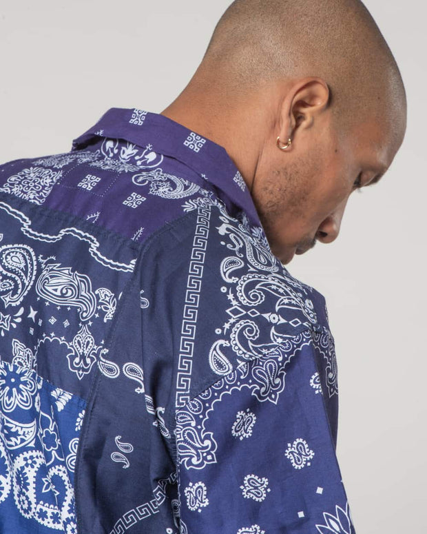 Navy Short Sleeves Shirt bandana Patchwork
