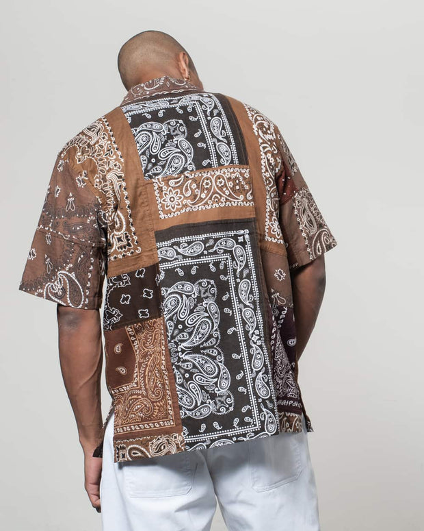 Overlord Upcycling Vintage | Brown Short Sleeves Shirt bandana Patchwork