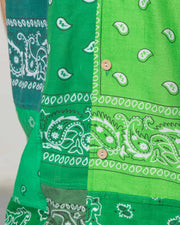 Overlord Upcycling Vintage | Green Short Sleeves Shirt bandana Patchwork