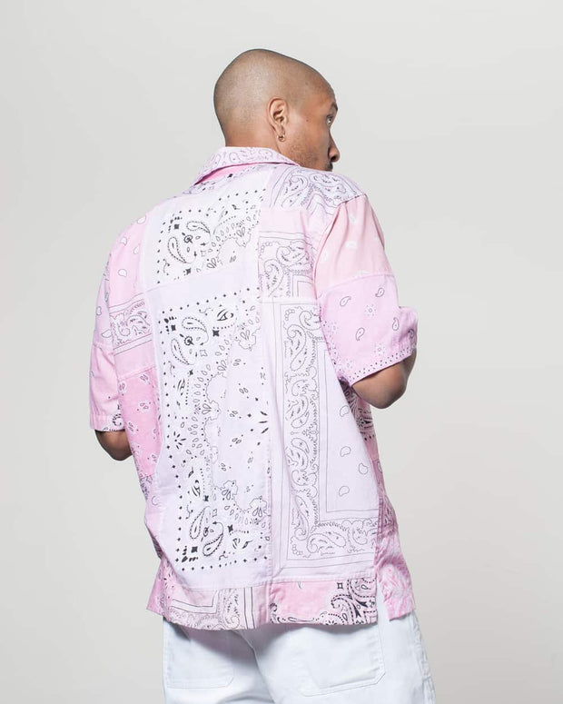 Overlord Upcycling Vintage | Light Pink Short Sleeves Shirt bandana Patchwork