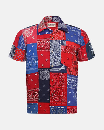 Overlord Upcycling Vintage | Red/Navy Short Sleeves Shirt bandana Patchwork
