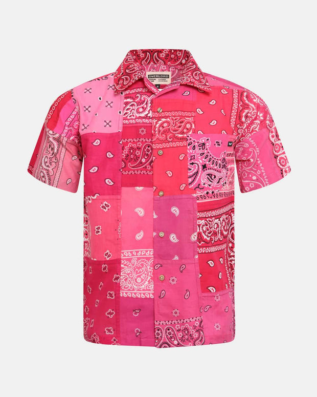 Overlord Upcycling Vintage | Pink Short Sleeves Shirt bandana Patchwork