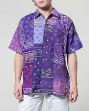 Overlord Upcycling Vintage | Purple Short Sleeves Shirt bandana Patchwork