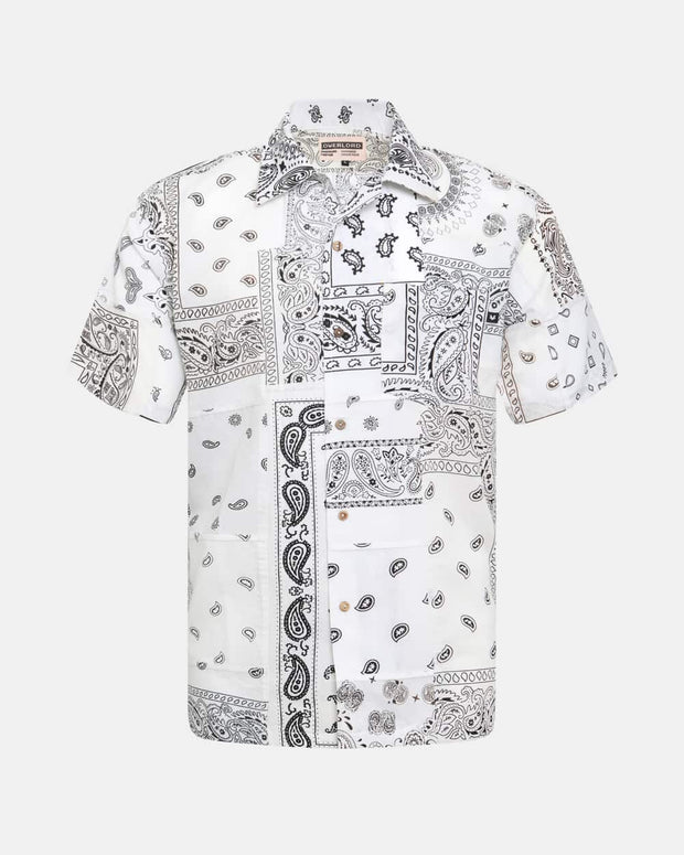 Overlord Upcycling Vintage | White Short Sleeves Shirt bandana Patchwork