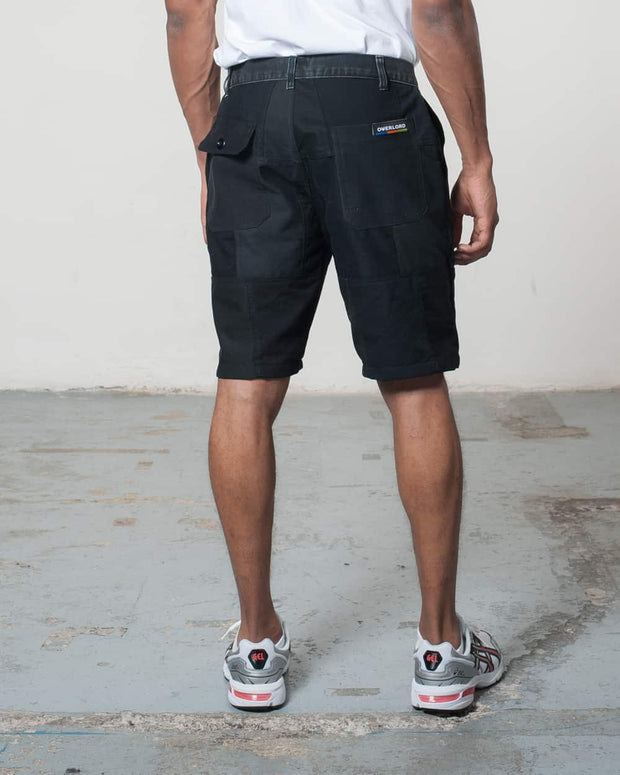 Black Patchwork Shorts