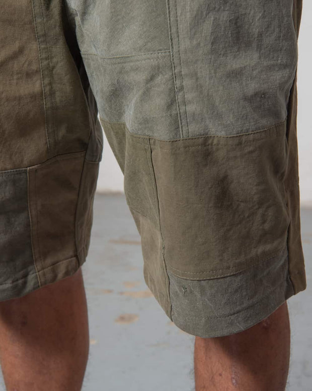 Overlord Upcycling Vintage | Olive Patchwork Shorts