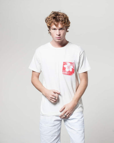 Overlord Upcycling Vintage | White T-shirts With Pocket Red Hawiaïan Shirt