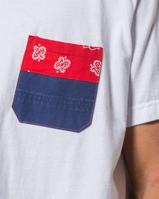 Overlord Upcycling Vintage | White T-shirts With Pocket Workwear and Red Bandana