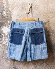 Overlord Upcycling Vintage • CHAMBRAY Shorts Blue/Navy