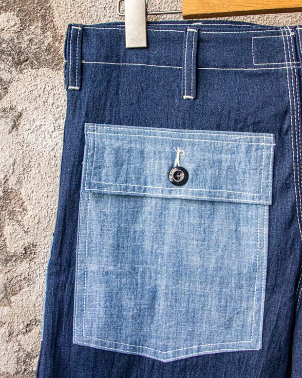Overlord Upcycling Vintage • CHAMBRAY Shorts Navy/Blue