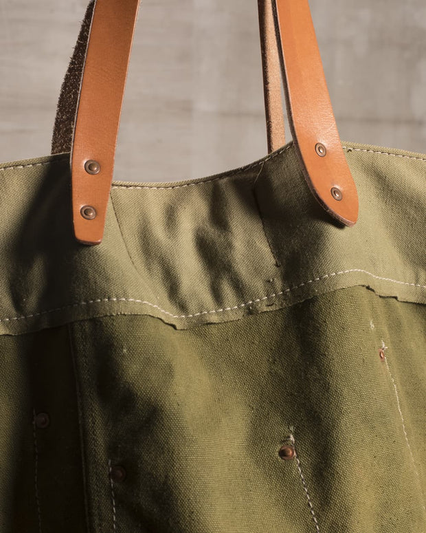 Overlord Upcycling Vintage • Bicolor Olive Army Fabric Tote Bag