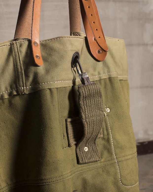 Overlord Upcyncling Vintage • Bicolor Olive Army Fabric Tote Bag