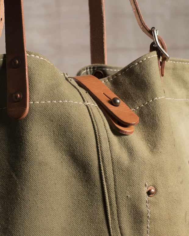 Overlord Upcycling Vintage • Olive Army Fabric Tote Bag