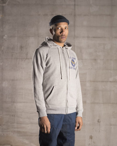 Overlord Upcycling Vintage | Grey US Army Air Force Zipped Hoodie