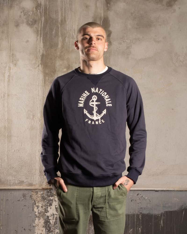 Overlord Upcycling Vintage • Marine Nationale Sweatshirt - Navy Blue
