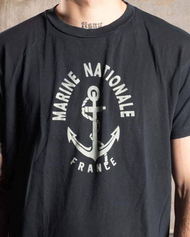 Overlord Upcycling Vintage • French Navy T-Shirt - Black