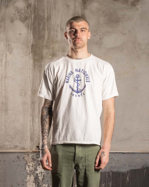 Overlord Upcycling Vintage | Marine Nationale T-Shirt - White