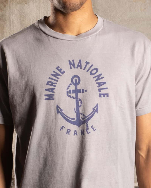 Overlord Upcycling Vintage | Marine Nationale T-Shirt - Grey