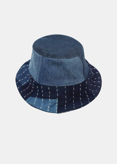 Denim and Sashiko Bob Hat