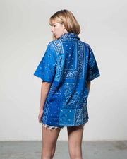 Overlord Upcycling Vintage | King Blue Short Sleeves Shirt bandana Patchwork