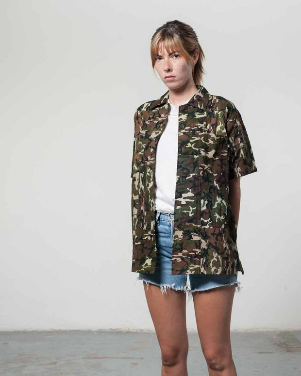 Overlord Upcycling Vintage | Dark Camo Short Sleeves Shirt bandana Patchwork