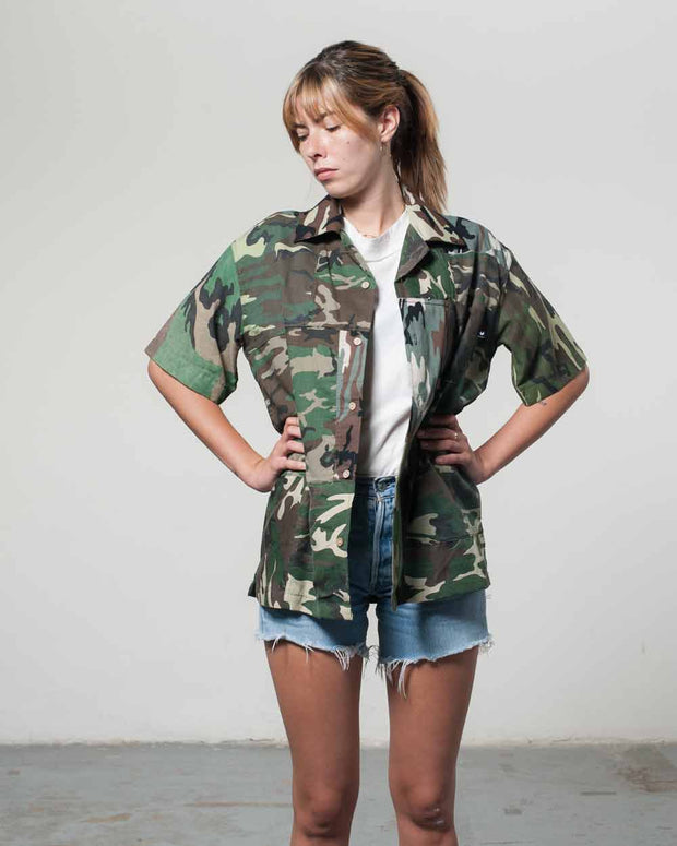 Overlord Upcycling Vintage | Olive Camo Short Sleeves Shirt bandana Patchwork