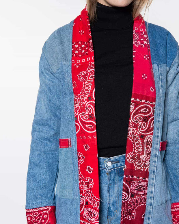 Noragi Dark Vintage Denim Patchwork Red Bandana