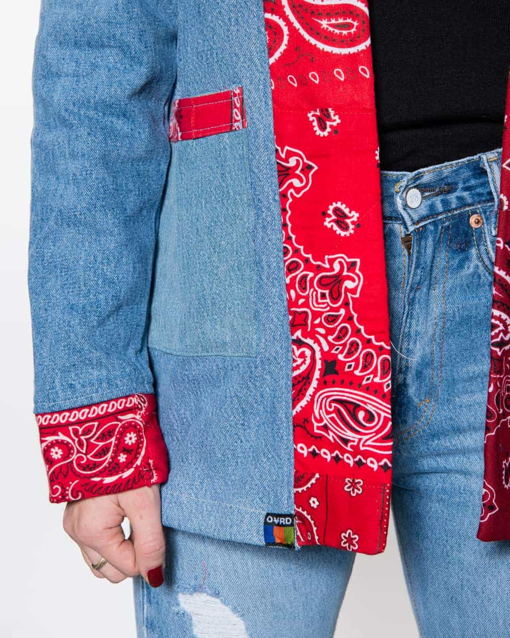 Overlord Upcycling Vintage | Noragi Dark Vintage Denim Patchwork Red Bandana