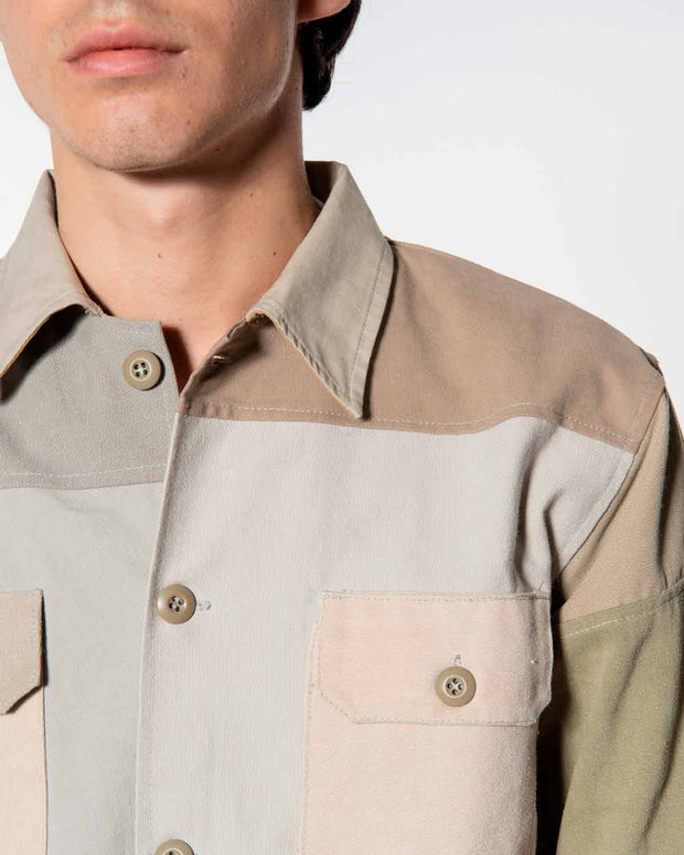 Overlord Upcycling Vintage | Beige Patchwork Overshirt