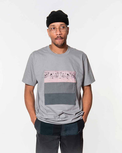Overlord Upcycling Vintage | Grey T-shirts With Patch Workwear and Pink Bandana