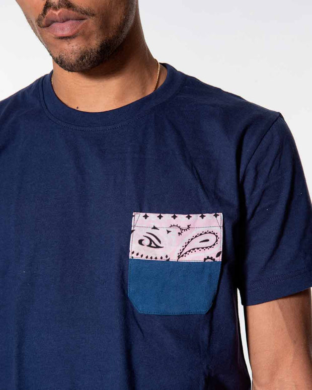 Overlord Upcycling Vintage • Navy Tshirts With Pocket Workwear And Bandana Pink