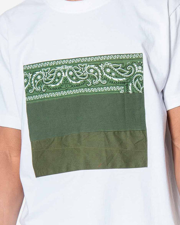 Overlord Upcycling Vintage | White T-shirts With Patch Military and Olive Bandana