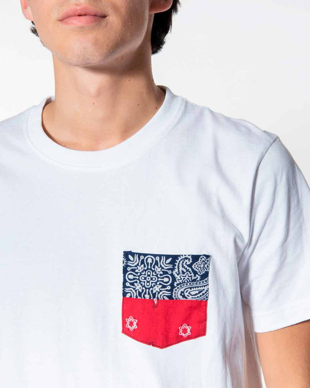 Overlord Upcycling Vintage | White T-shirts With Pocket Grey Bandana Red/Blue