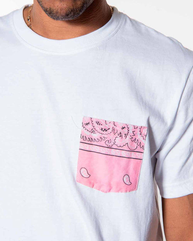Overlord Upcycling Vintage | White T-shirts With Pocket Pink Bandana
