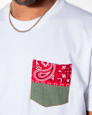 Overlord Upcycling Vintage | White T-shirts With Pocket Military and Red Bandana