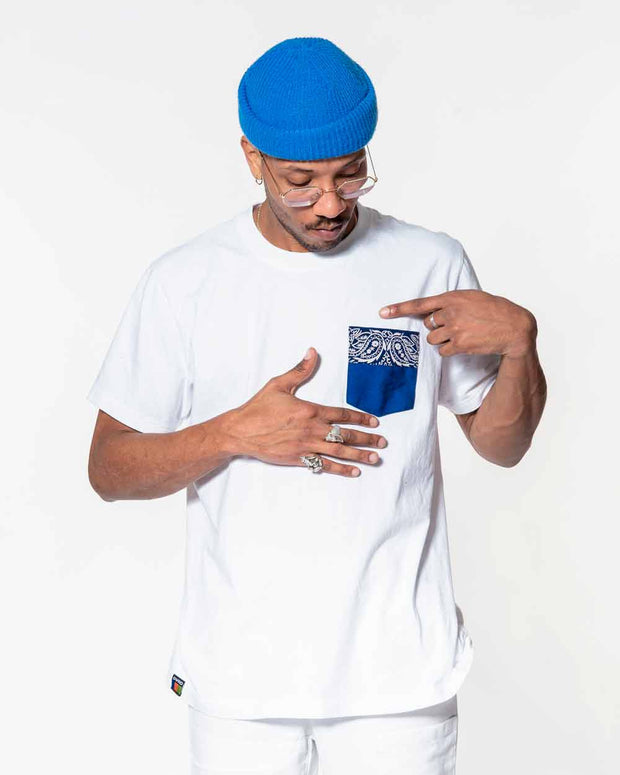 Overlord Upcycling Vintage | White T-shirts With Pocket Workwear and Blue Bandana