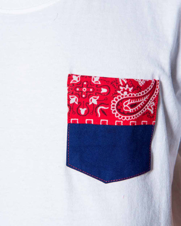 Overlord Upcycling Vintage • White Tshirts With Pocket Workwear And Bandana Red